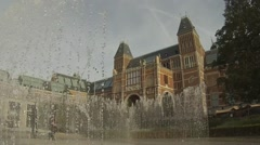 Ornamental Fountains in the gardens of the Rijksmuseum Amsterdam Stock Footage