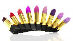 Animation of Different lipsticks Opened on white background Stock Footage