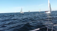 Yacht Racing - Boats off the Portside - stock footage