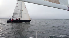 Yacht Racing - Boat passing on Starboard Stock Footage