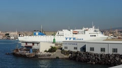 Stock Video Footage of ship ferry in catania port