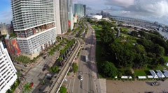 4k aerial downtown miami biscayne boulevard Stock Footage