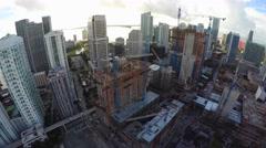 Aerial video of Brickell City Center under construction 4k Stock Footage