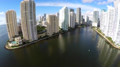 Aerial footage Brickell Key Miami FL 4k Stock Footage