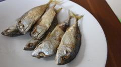 Mackerel fried Stock Footage
