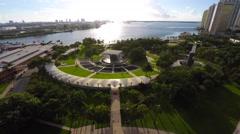 4k aerial bayfront park sound stage defisheyed Stock Footage