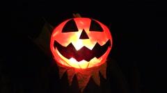 Halloween Jack o Lantern fire glow Stock Footage