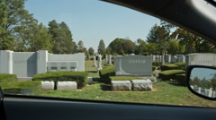 Cemetery Daytime Day Tombstones Grave RIP Driving Tombs Stones Stock Footage