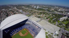 4k aerial video of the Marlins Stadium and park in Miami Stock Footage