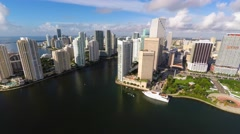4k aerial brickell key downtown miami defisheyed Stock Footage