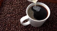 4K Cream Hot Coffee Stock Footage