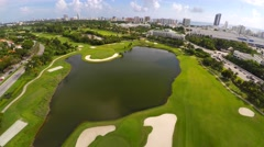 Aerial descend golf course 4k Stock Footage