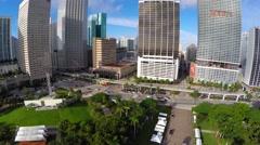 Aerial 4k video Downtown Miami buildings fisheye Stock Footage