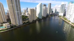 Brickell Key 4k aerial video Stock Footage