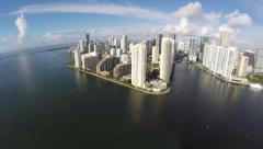 4k aerial brickell key sideways flight Stock Footage