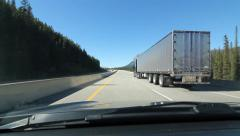 Passing a truck on Trans Canada Hwy 1. Alberta, Canada. Stock Footage