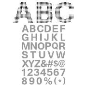 Pixel Font - Alphabets and numerals characters in retro square pixel font - stock illustration