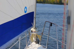 Sailing yacht on river, POV. Active rest, tourism, recreation, click for HD Stock Footage