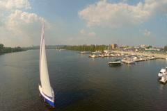 Yachting on wide city river. Outdoor activities, summer vacation, click for HD Stock Footage
