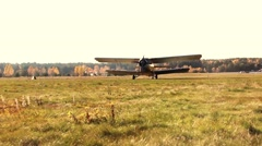 Airplane preparing for take-off field Stock Footage