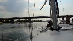 Team on deck of sailing yacht. Yachting, extreme sport, tourism, click for HD Stock Footage
