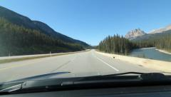 Driving on Trans Canada Hwy 1 in Alberta, Canada. - stock footage