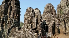 Bayon - ancient Khmer temple in Angkor Thom temple complex in Cambodia Stock Footage