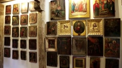 Stock Video Footage of Old icons inside Radomysl Castle, the museum of Ukrainian home icons