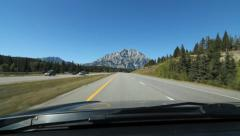 Driving towards a mountain on Trans Canada Hwy 1 in Alberta, Canada. Stock Footage