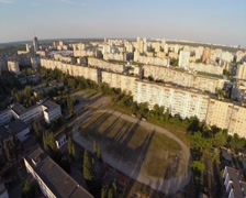 Beautiful panorama of large residential area, city aerial, click for HD Stock Footage
