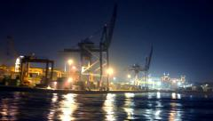Container port timelapse shot from the water side in Istanbul Stock Footage