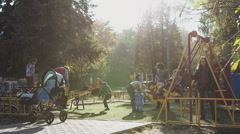Children playing on a school playground during recess. Stock Footage
