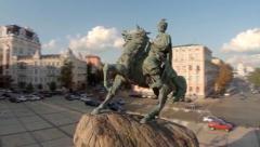 Aerial shot of monument to Bohdan Khmelnytsky, Kyiv, Ukraine, click for HD Stock Footage