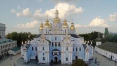 Aerial majestic view of Orthodox church with golden domes, click for HD - stock footage