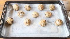 Homemade Cereal Cookies Preparing To Bake Stock Footage