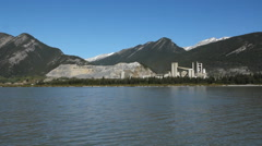 LaFarge cement plant in Rocky Mountains, Alberta, Canada. Stock Footage