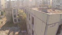 Aerial view wrecked abandoned building, no people, deserted city, click for HD Stock Footage