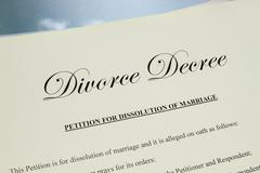 closeup of  legal divorce decree papers - stock photo