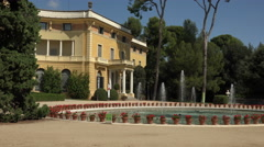 Barcelona Royal Palace park fountain Garden of Pedralbes 4K 045 Stock Footage