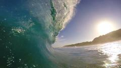 POV Surfing View Empty Ocean Wave Crashing Stock Footage