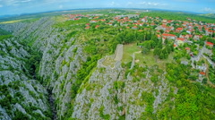 Drnis, Gradina fortress aerial descenting shot Stock Footage