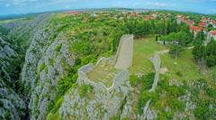 Drnis - Gradina fortress aerial circular shot Stock Footage