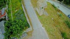 Old minaret in Drnis - aerial shot - stock footage
