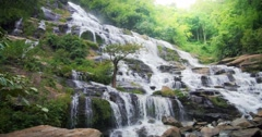 Scenic and peaceful landscape of waterfall cascade and sun light Stock Footage