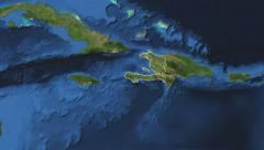 Haiti. 3d earth in space - zoom in on Haiti contoured on green 4k Stock Footage