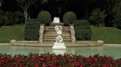 Barcelona Jardins Del Palau de Pedralbes fountain 4K 034 Stock Footage