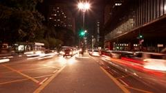Tilt Avenida Paulista near Museum of Art MASP time lapse Sao Paulo Brazil Stock Footage