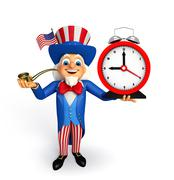 Uncle sam with table clock Stock Illustration