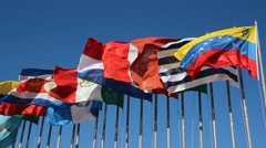 International Flags Blowing in the Wind Stock Footage