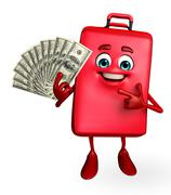 travelling bag chatacter with dollars - stock illustration
